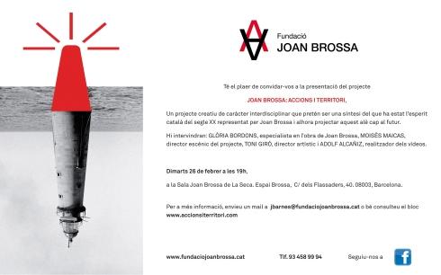 Invitació a la presentació Joan Brossa_Accions i Territori